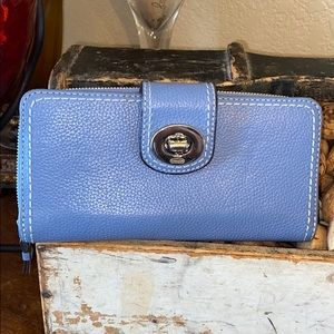 Coach very soft pebble leather turn lock wallet